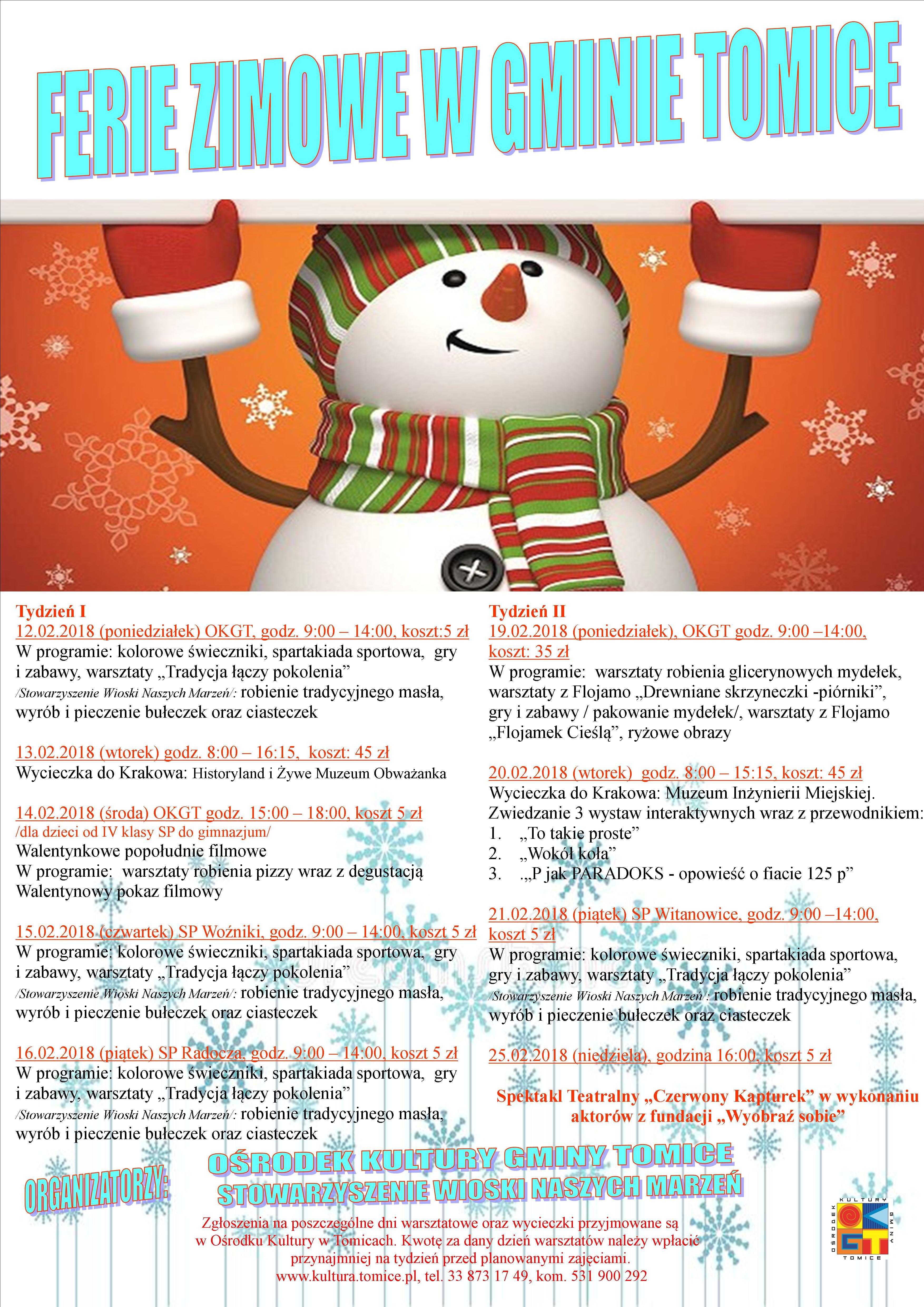 d74a47ced0974b Ośrodek Kultury wraz ze Stowarzyszeniem Wioski Naszych Marzeń zapraszają  dzieci do udziału w zajęciach organizowanych podczas ferii zimowych.